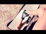 Legs in black open toe high heels from bag view. Upskirt point. HD