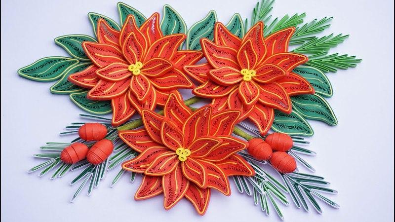 Quilling Poinsettia Flower V3 Tutorial | Cómo hacer flor de pascua de papel