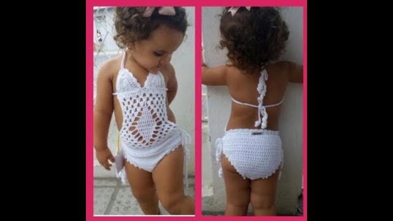Maiô infantil de crochê para criança de 2 anos passo a passo para iniciantes