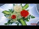 Elegant Garnish of Carrot Radish Zucchini Rose Flowers with Onion Cilantro Designs *DIY