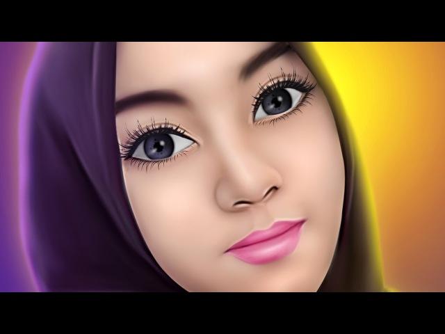 Tutorial Smudge Painting Hijab Girl No speed art
