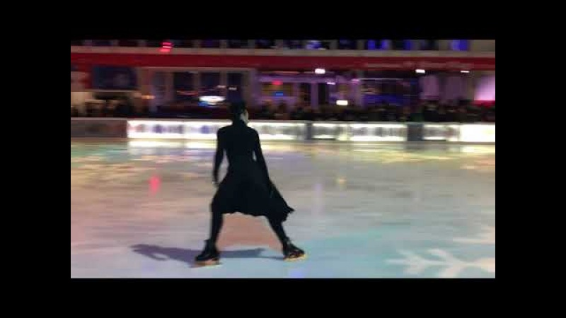 "Johnny Weir performing ""Creep"" at Glitter, Glam and Gold Skate Night at Bryant Park 1/11/2018"