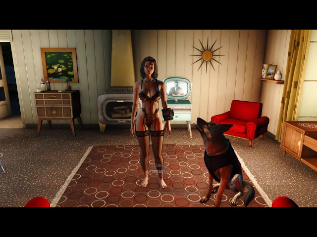 Fallout 4 Mods Caliente's Beautiful Bodies Enhancer CBBEDA Lingerie Set black-мод нижнее бельё.