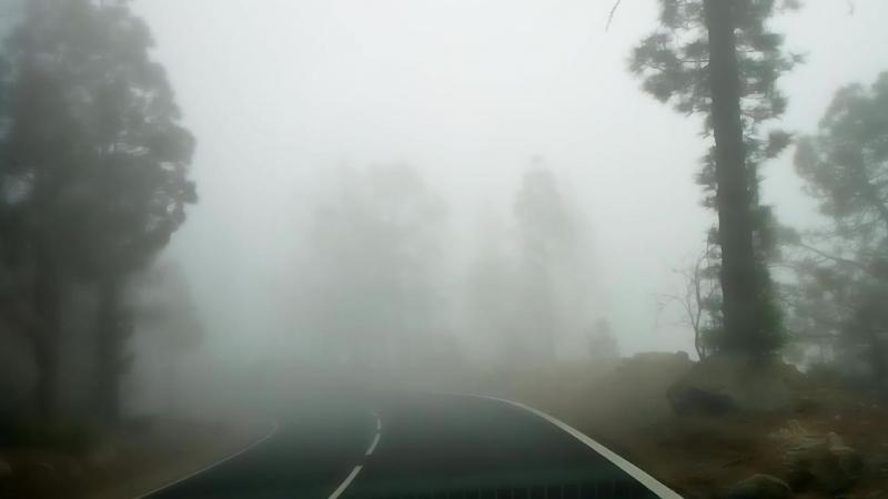 Тенерифе. Горная дорога в тумане.