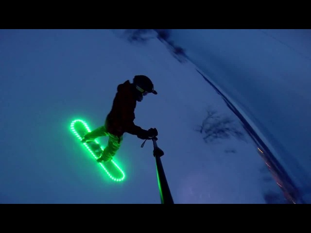 Snowboard with backlight