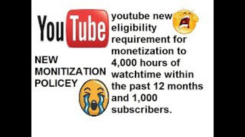 New Monitization Eligibility of YouTube 2018 - No Ads till 4000 hours watchtime 1000 subscribers
