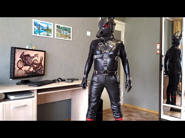 Leather man, mask Anubis, black and red style