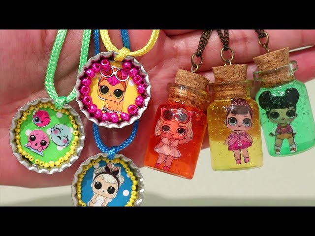 LOL Surprise Dolls Slime and Bottlecap Necklaces DIY And Opening Lil Sisters Series 3 Blind Bags