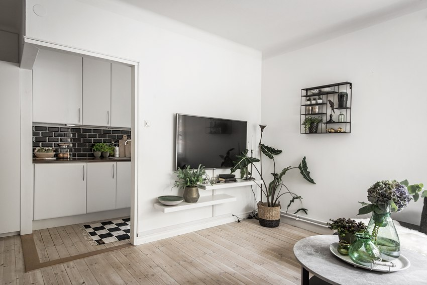 Скандинавский интерьер квартиры-студии 33 м.