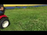 Кошение травы садовым трактором Митракс
