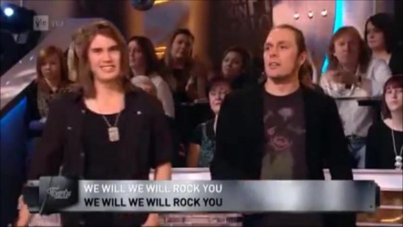 2012.12.21 J. Ahola, Inka Halme, Andre Linman JP Leppäluoto - We will rock you (Tartu Mikkiin, YLE)