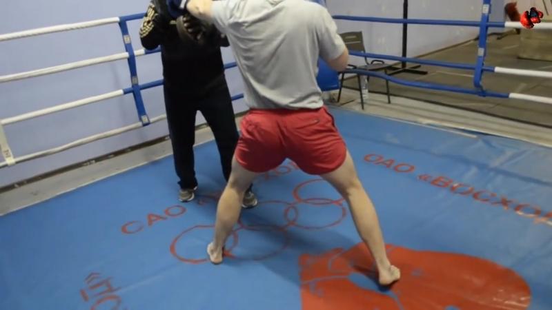 Удар почтальона, прямые и сдвоенные удары передней рукой, встречный в корпус уроки бокса Владимира