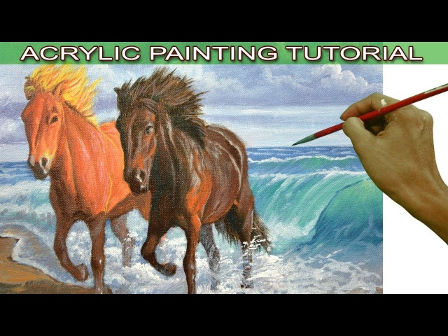 Acrylic Landscape Painting Tutorial Two Horses on the Beach with Crashing Waves by JMLisondra