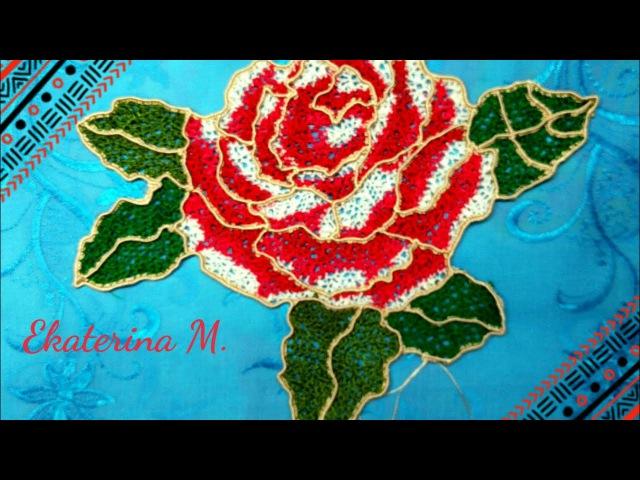 Розы Вязание крючком бурдона без отрыва нити для Ирландского кружева