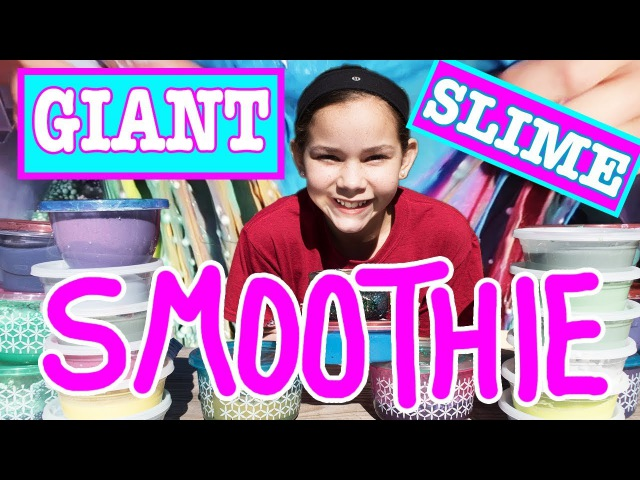 Giant Slime Smoothie - Mixing All Of My Personal Slime (Haschak Sisters)