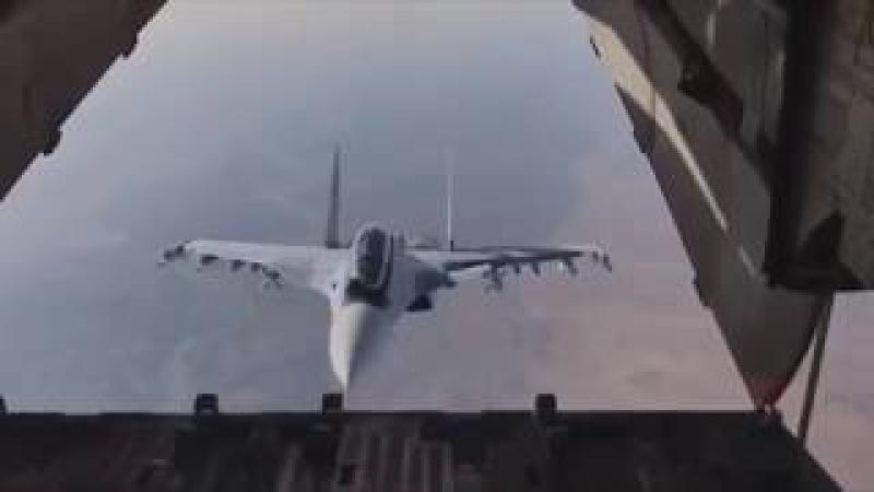 Новости РОССИИ Сирия Красавец Су 30СМ заглянул внутрь транспортника Ил 76