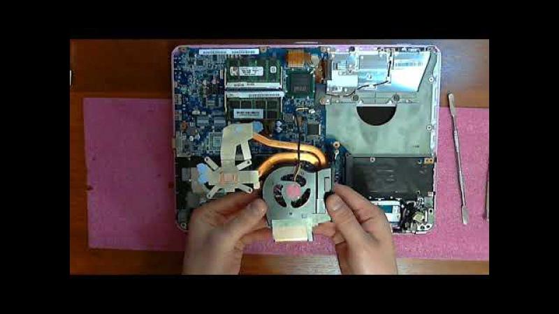 Sony Vaio PCG 3G6P ( VGN CS31MR ) разборка , замена вентилятора и термопасты
