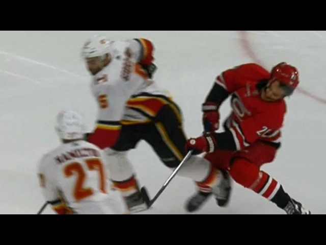 Gotta See It: Aho taken out by Giordano, needs assistance to leave ice