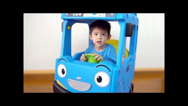 Assembling TAYO bus roof car ride on - Kid Unboxing toys, The wheels on the bus nursery rhymes