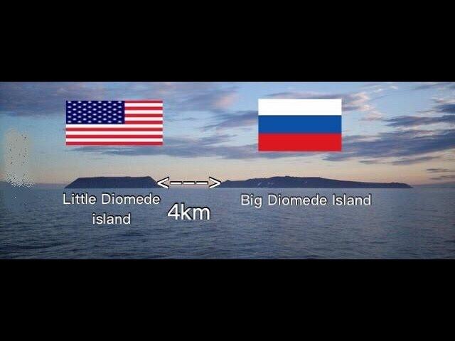 Граница между Россией и США: Острова Диомида: Расстояние 4км разница во времени 12 часов