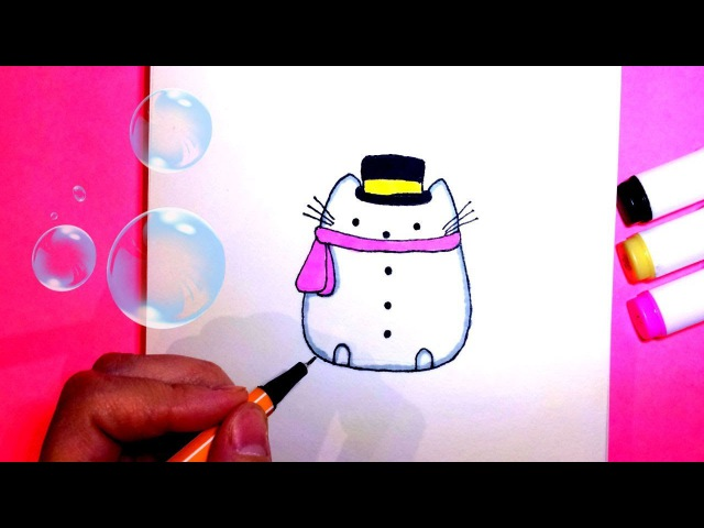 Как Нарисовать Кота Пушин в Костюме Снеговика ♥ How To Draw Pusheen Cat Snowman easy step by step