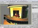 3d Max. Визуализация 3d плана интерьера. Огонь в камине. (Рамазанова Жанна)