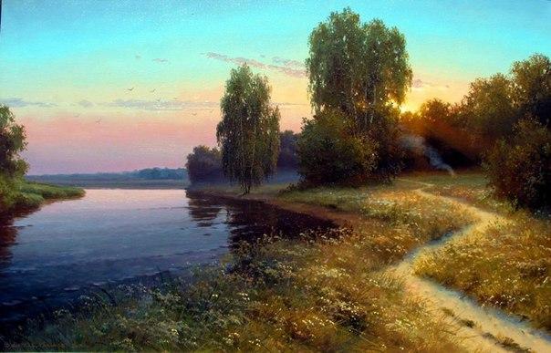 Такие пейзажи пишет художник Вячеслав Хабиров. Узнаваемые уголки русской природы.