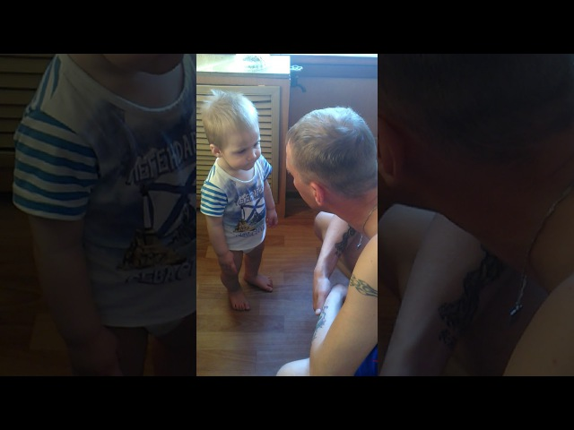 Серъезный разговор папы с годовалым сыном