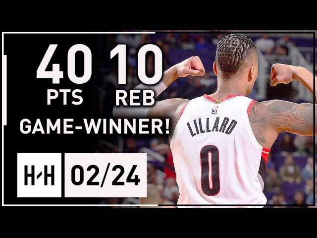 Damian Lillard INCREDIBLE Full Highlights vs Suns (2018.02.24) - 40 Points, 10 Reb, GAME-WINNER!