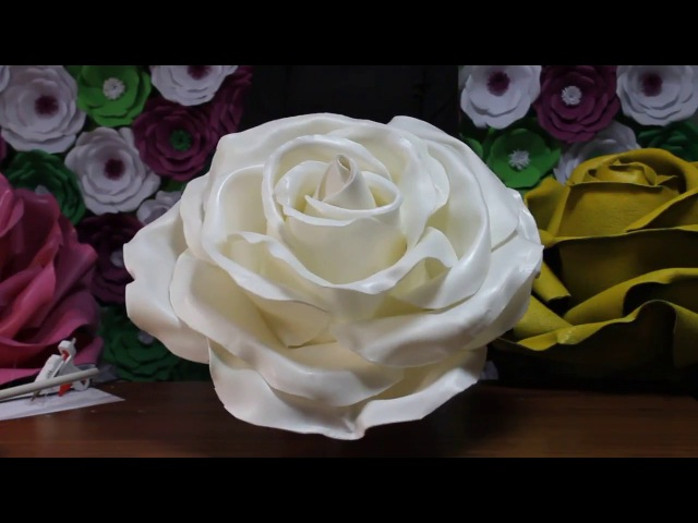 Ростовой цветок из изолона. Большие цветы из изолона. Giant rose tutorial » Freewka.com - Смотреть онлайн в хорощем качестве