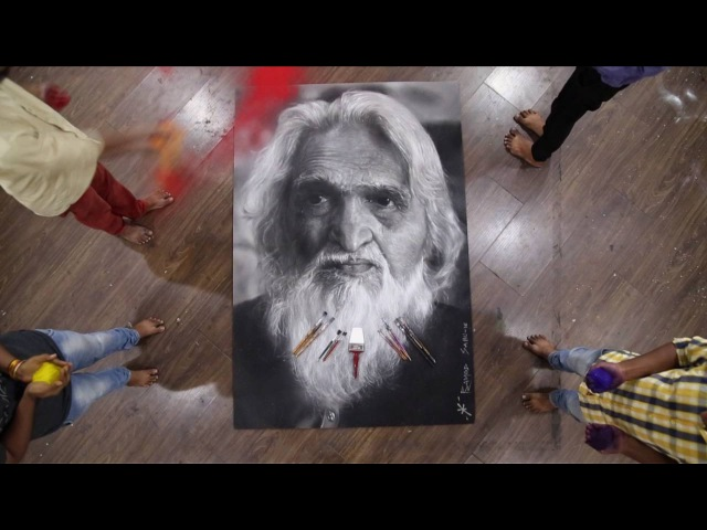 Arpan Hyper Realistic Rangoli Dedicated to Sir M F Hussain Brushing Pramod Sahu