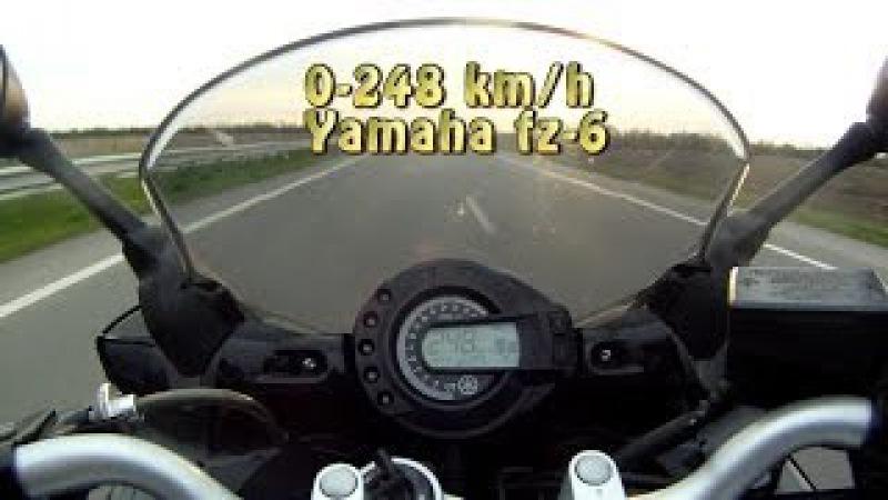 Yamaha Fz6 Fazer разгон до упора Fly by. Acceleration to max speed.