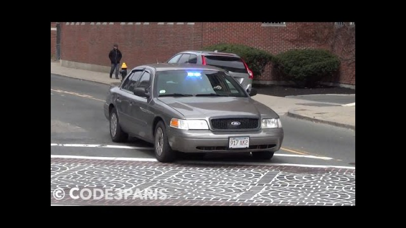Boston Police Unmarked Police Car Responding LIghts and Sirens