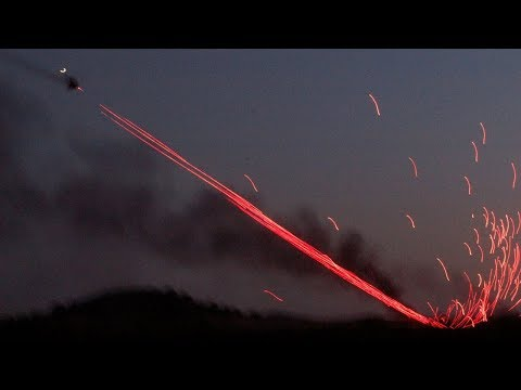Amazing Tracer Fire by Turkish T129 ATAK AH 1 Cobra Helicopters