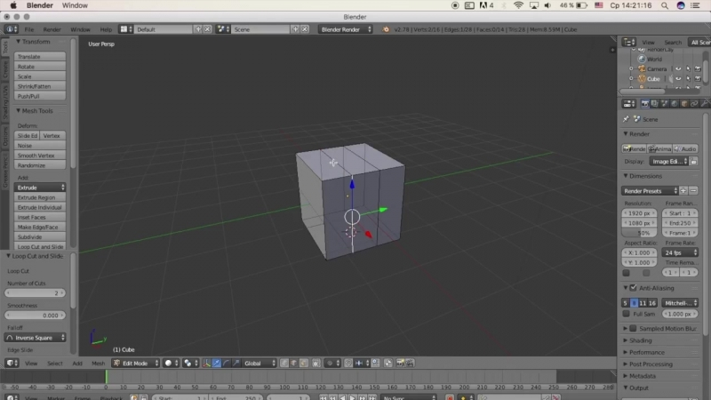 Гоша Дударь Blender 3D моделирование Урок 5 Режим редактирование создание дома