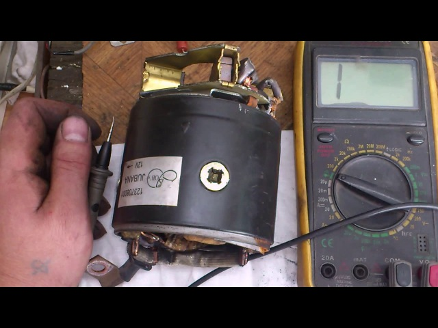 Проверка обмоток стартера. Checking the starter windings.