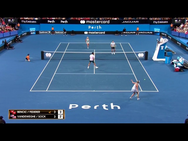 Federer / Bencic 🇨🇭 vs Sock / Vandeweghe 🇺🇸 Funny Point 36 Rally - Hopman Cup 2018
