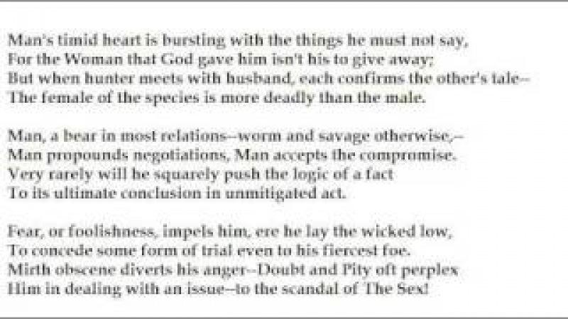 The Female of the Species by Rudyard Kipling (read by Tom O'Bedlam)