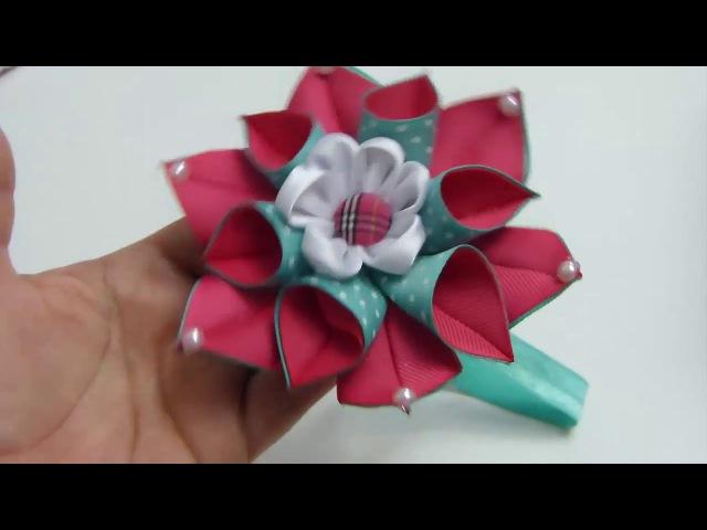 Linda Flor Doble de Puntas Flores de Liston Tutorial