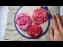 Роза вышитая атласными лентами Rose embroidered satin ribbons