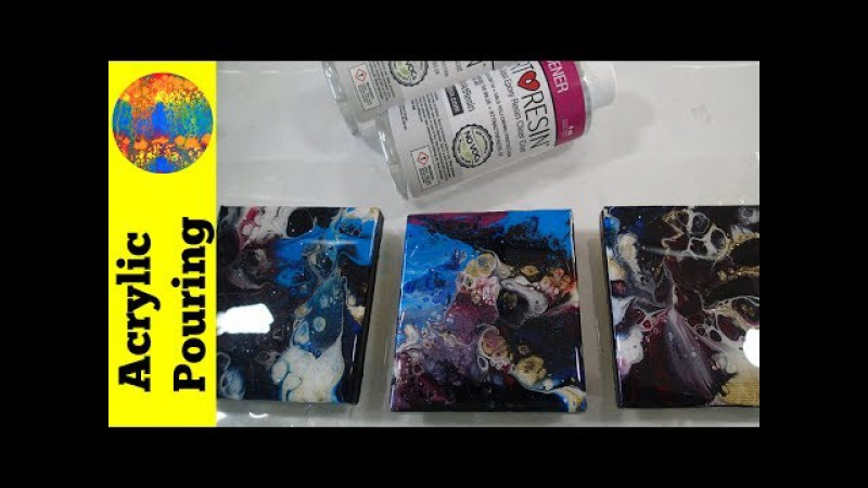(89) Adding a resin coating to your acrylic pour paintings