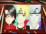 Speed Drawing - Boruto X Sarada X Mitsuki (Naruto The Movie) HD