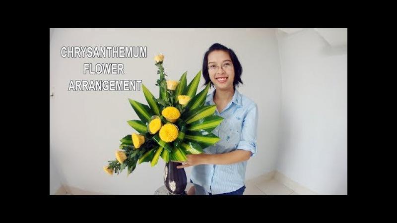 Cắm hoa bàn thờ tập 30 Lẳng HOA CÚC CHÉN Flowers Chrysanthemum DIY