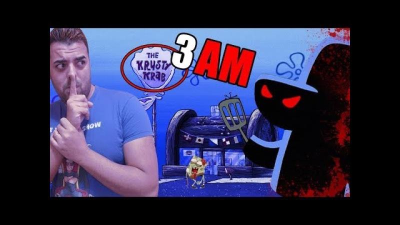 NADIE SABE EL SECRETO del CRUSTACEO CASCARUDO 3 AM at The Krusty Krab Bob Esponja