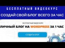 Как создать блог на Wordpress самому бесплатно. Видео обзор курса Личный блог на Ворд...