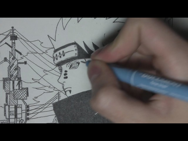 Рисуем Пейна из Наруто (Pain Speed Drawing)