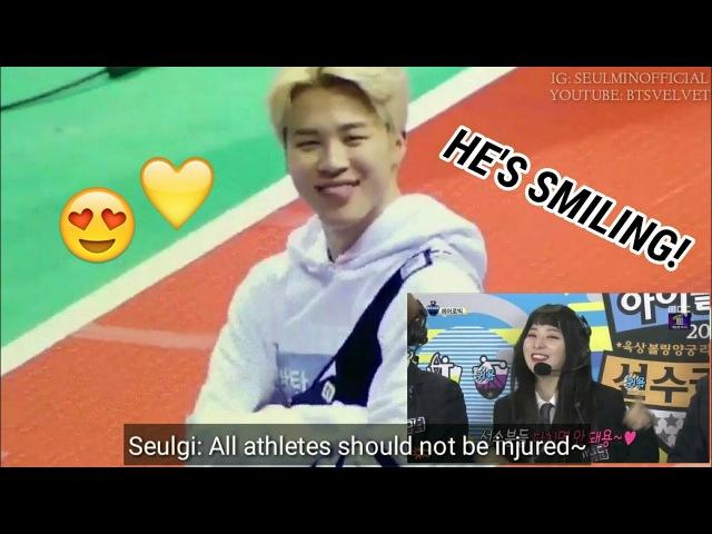 BTS Jimin reaction to Red Velvet Seulgi Aegyo @ ISAC 2018 [FANMADE]