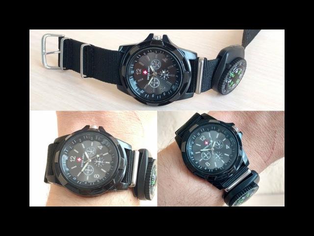 Часы Swiss Army Black Компас Армейские Кварц