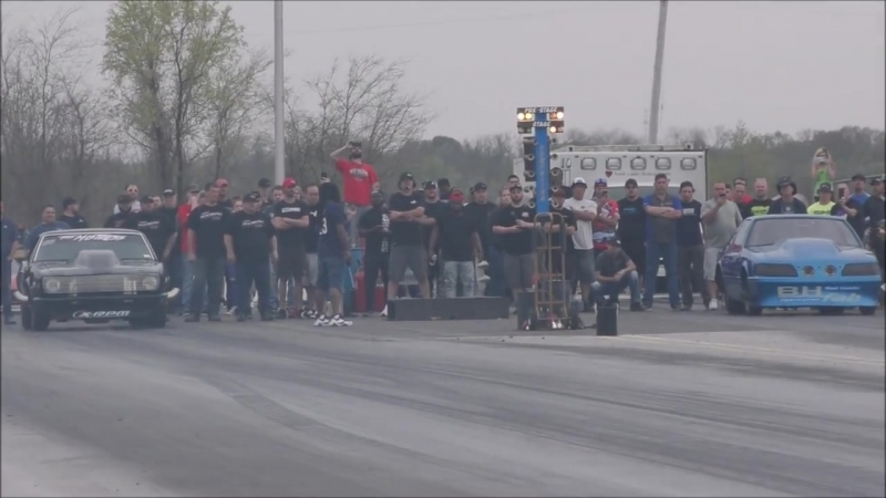 Lester Miller Nitrous Camaro having people take cover at small tire legends