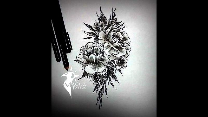 рисунок цветов, в линиях и черных